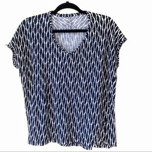LOFT Navy & White Linen V-Neck Short Sleeve Top